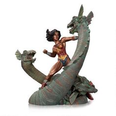 This Wonder Woman statue features the Princess of Themyscira locked in fierce battle with the two-headed Hydra of Greek mythology. This statue features an amazing sculpt highlighted with a patina finish. This statue measures approximately 7.5 inches tall.