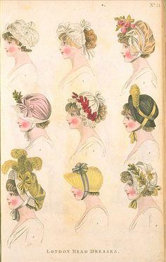 London Head Dresses, September 1800, Fashions of London & Paris
