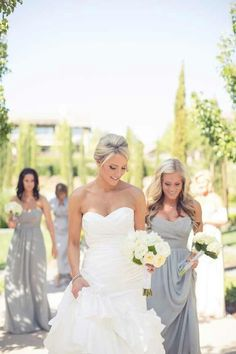 Love this grey for brides maid dresses clean and classy with a white accent color
