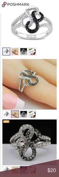Size 7 Gorgeous Black & white infinity Ring This beautiful ring is crafted in White gold plated Jewelry Rings