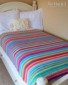 Ravelry: Crayon Box Blanket pattern by Marken of The Hat & I Crochet Bedspread, Afghan Crochet Patterns, Blanket Crochet, Crochet Stitches, Manta Crochet, Crochet Baby, Scrap Crochet, Rainbow Crochet, Crotchet