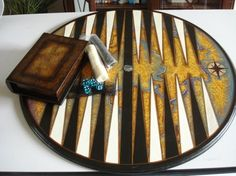 Round Backgammon board. Found on etsy marbleousgames.