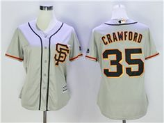 8de068024 San Francisco Giants  35 Brandon Crawford Women s Alternate Road Grey Cool  Base Jersey