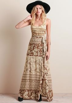 Bird Maxi Dress In Rust Hazely By Novella Royale