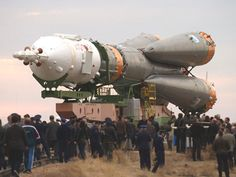 The current version of the Russian Soyuz TM rocket, first launched in is substantially the same vehicle that first flew in This is the rollout of the booster for a space mission in [NASA photo] Space Shuttle, Space Launch, Nasa Photos, Space Rocket, Space Images, Space Program, Space Station, Space Travel, Space Exploration