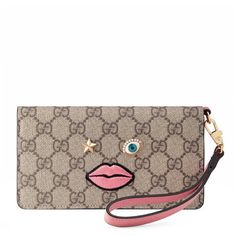 Gucci Iphone 6 Plus Case With Embroidered Face ($495) ❤ liked on Polyvore featuring accessories, tech accessories, pink and gucci