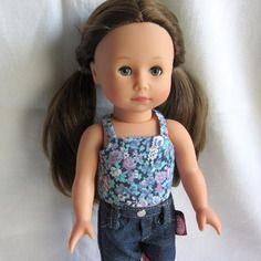 Habit poupée : top fleuri à bretelles pour poupée just like me de götz, 27 cm