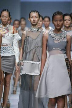 JAKARTA, INDONESIA - NOVEMBER 3: Models showcase designs by Toton for Erasmus Huis Presents Indonesia Fashion Forward show during Jakarta Fashion Week 2015 at Senayan City on November 3, 2014 in Jakarta. (Photo by Irvan Arryawan/Feminagroup)