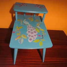 Brighten up any outdoor space with this retro redo.  This table would give any sun room or gazebo a bit of spunk! --------------------------------------------------------------------------------     Website http://kimber-creations.myshopify.com