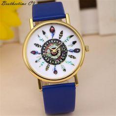 New Fashion Women Fashion Vintage Feather Dial Leather Band Quartz Analog Wrist Watches Free Shipping Relogio Feminino