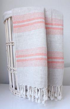 Hamam towel, linen and tangerine