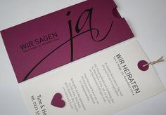 Hochzeitseinladung / Hochzeitskarte / wedding invitation - auch in cassis (violett) http://aylando.de/html/hochzeitskarten.html#JA