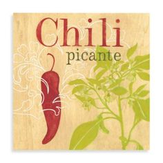 Chili Printed Canvas Wall Art - BedBathandBeyond.com Framed Wall Art, Canvas Wall Art, Canvas Prints, Modern Wall Art, Spice Things Up, Decoupage, Home And Garden, Printed, Home Decor