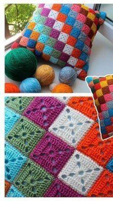 Crochet Pillow Patterns Free, Granny Square Crochet Pattern, Crochet Stitches Patterns, Crochet Squares, Crochet Motif, Crochet Lace, Crochet Flower, Free Pattern, Crochet Cushion Cover