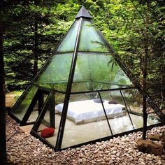 """A sanctuary for lucid dreaming"" – peaceful glass pyramid tent structure"