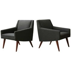 Pair of Petite Walnut Armchairs in the Manner of Jens Risom | From a unique collection of antique and modern armchairs at https://www.1stdibs.com/furniture/seating/armchairs/