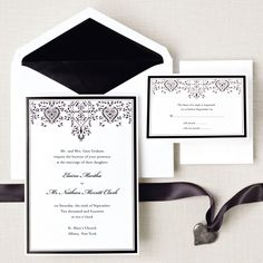 Filigree Hearts Wedding Invitation | #exclusivelyweddings | #blackandwhitewedding