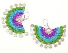 Bohemian Jewelry / Rainbow Crochet Lace Earrings  / Dangle / Statement Jewelry / Semicircle / Tughra Coin Charms / Pink Purple Blue Green
