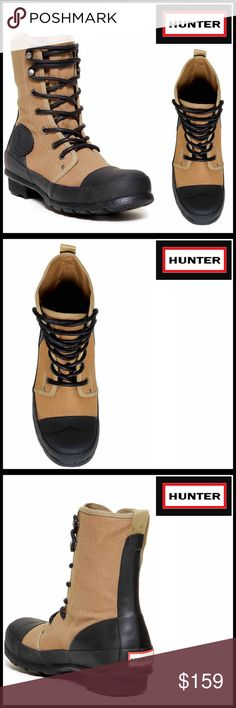 """⭐️⭐️ HUNTER ORIGINAL Combat Boots 💟NEW WITH TAGS💟  RETAIL PRICE: $185  HUNTER Original Boots  * Canvas construction, lightweight yet durable   * Round cap toe, lace-up closure, lightly padded insole, logo detail  * Rubber lug sole  * Approx 8.5"""" high shaft , 1"""" high chunky heels   * Whole sizes only, generous cut to accommodate thick socks  MATERIAL-Canvas/manmade upper & rubber sole COLOR-Khaki (tan), Black ITEM # Combat rain commando  🚫No Trades🚫 ✅ Offers Considered*✅  *Please use the…"""
