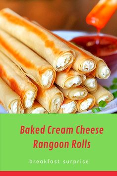 #Baked #Cream #Cheese #Rangoon #Rolls    I don't know if you have ever had the pleasure of eating the cream cheese rangoons from Panda Express, but just to give you an idea, they're like heaven in your mouth! This recipe is very similar, only they're baked instead of fried, and rolled into fun little sticks. Anyone who loves cream cheese will certainly enjoy them.    The egg roll wraps are so thin, you get that perfect crunch without the fryer. Simply fill, roll, seal, oil and bake. Don't be Relish Recipes, Carrot Recipes, Bacon Recipes, Appetizer Recipes, Vegan Recipes, Dessert Recipes, Escarole Recipes, Fennel Recipes, Vegane Rezepte