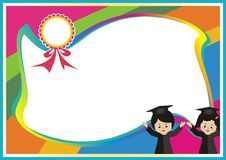Kindergarten, kid diploma with rainbow background Stock Photos