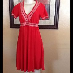 """Talbots Dress Cute RED dress, looks orange in pictures but actual color is red.  Very feminine and simple.  White stitched design with gathered detail at waist, neckline, and sleeves.  No lining, no zipper.  Measures 37"""" length, 17"""" bust, 15"""" waist.  This is a size S petite.  please submit your offers through the """"Offer"""" option. ❤️I love bundles❤️ Sorry ❗️No trades, no holds❗️ Thanks for visiting my closet , Happy Poshing Talbots Dresses"""