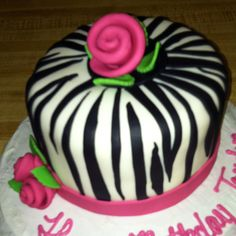 Zebra print bday cake