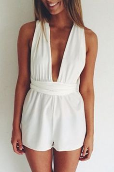Women's Stylish Sleeveless Plunging Neck Pure Color Romper