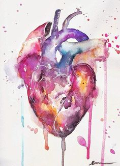 29 Ideas For Tattoo Heart Anatomical Anatomy Art Illustrations Tree Watercolor Painting, Watercolor Heart, Heart Painting, Watercolor Tattoo, Butterfly Watercolor, Easy Watercolor, Medicine Wallpaper, Heart Illustration, Medical Art