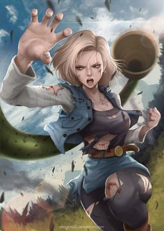 "The icy No.18! But she looks so human... Notice #Cell in the back. (""Dragon Ball Android 18"" by magion02. May 4, 2014 