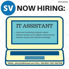 #StaffVirtual is #NowHiring #ITassistant Jobs@staffvirtual.com