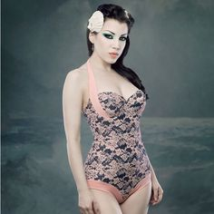Deluxe Swimsuit Lace Print by Kiss Me Deadly --- so elegant, here is the lace version // take my money now! #wearabledesign