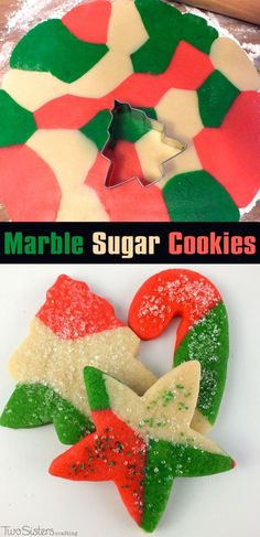 These festive Marble Sugar Cookies are a unique take on a traditional Christmas Sugar Cookie and will be one of your family's favorite Christmas Desserts. For more fun Christmas Treats follow us at http://www.pinterest.com/2SistersCraft/