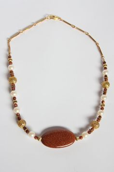 Goldstone necklace by LizzyBee Designs on Etsy