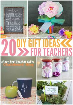 Teacher Appreciation Day is coming up. Here's 20 easy DIY Gift ideas for Teachers