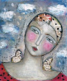 Mixed Media Painting Print  Modern Folk ART Dream by kittyjujube on Etsy, $12.00