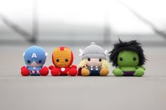 kates-brain:  I NEED to make these!!! and a loki and black widow!!Info here:http://www.fatfaceandme.com/2015/04/fat-face-avengers/(no pattern or tutorial, but there is an etsy store for the general pattern which can then be modified).