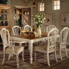 Hilale Wilshire 7 Piece Rectangular Dining Table Set In White
