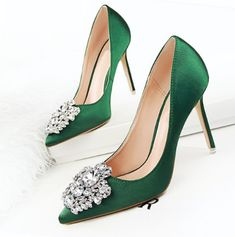 90d8ca0d8d0e New 2017 Spring Autumn Women Pumps Elegant Rhinestone Silk Satin High Heels  Shoes Sexy Thin Pointed Single Shoes 7 Color