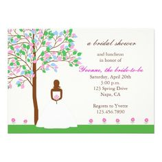 Spring African American Bridal Shower Invitation
