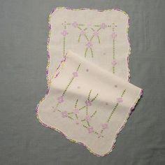 SALE Vintage 50s Hand Embroidered Crocheted White Linen Dresser Scarf Lavender