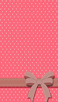 Polka dot pink and white iPhone wallpaper ( also good for other phones if you adjust it when you set it ) with a bow! #zedge J & J