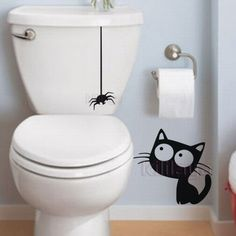 Funny Vinyl Wall Sticker Pattern Cat and Spider Toilet Sticker Mural decals For house decoration hotel decor Ambiance Sticker, Bathroom Decals, Creative Wall Decor, Wall Painting Decor, Spray Paint Art, Hotel Decor, Cat Wall, Vinyl Wall Stickers, Street Art Graffiti