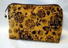 Cosmetic Bag, Women's Cosmetic Bag, Brown Cosmetic Bag, Clutch, Zipped Bag, Floral Bag, Beauty Bag, Toiletry Bag by rosemontbags on Etsy
