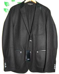 Hugo Boss Black Mens Leather Trim Wool Fashion Jacket Size US 46 R EU 56 NEW #HugoBoss #BasicJacket