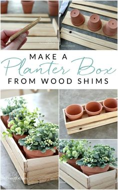 diy holz Learn how to make a simple DIY wood planter box using wood shims. This simple, small wooden box is perfect for spring plants or herbs. Indoor Planter Box, Diy Wood Planter Box, Diy Wooden Planters, Diy Wood Box, Small Wooden Boxes, Wooden Diy, Herb Planter Box, Wooden Flower Boxes, Diy Flower Boxes