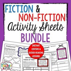 Reading activities for Nonfiction and Fiction Standards. These activities are perfect for Literacy Centers and Guided Reading.  These reading activities are more than just graphic organizers. Simply pair any of these reading activity sheets with a Non-Fiction OR Fiction text, and you have an instant activity for your students! (Directions and Explanation included)  This BUNDLED resource includes 42 Fiction and Non-Fiction Reading Activity Sheets that can be used during Literacy Centers…