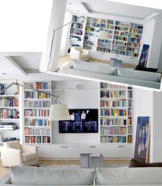 New Home Library With Tv Cabinets 42 Ideas verstecken Tv Bookcase, Apartment Bookshelves, Bookshelves With Tv, Library Bookshelves, Bookcases, Living Room Tv, Home And Living, Tv Escondida, Decor Around Tv