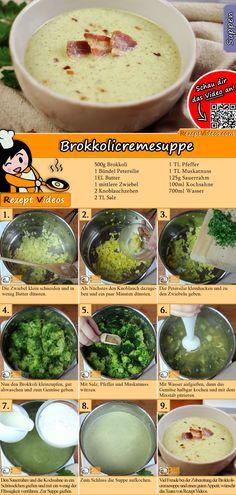 Brokkolicremesuppe ist lecker und leicht gemacht. Das Brokkolicremesuppe Rezept Video findest du mit Hilfe des QR-Codes ganz leicht :) #Brokkolicremesuppe #Cremesuppe #Suppen #Suppenrezept #RezeptVideo #RezeptVideos
