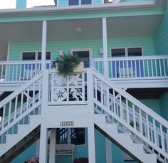 Custom Exterior PVC Vinyl Shutters w/ Nautical Cutouts, Decorative Exterior PVC House Trim, Nautical Vinyl Porch Railing Panels & Gates. Stairs, Porch Railing, Entryway Stairs, House With Porch, Wood Railings For Stairs, Coastal Cottage, House Landscape, House Trim, Porch Trim